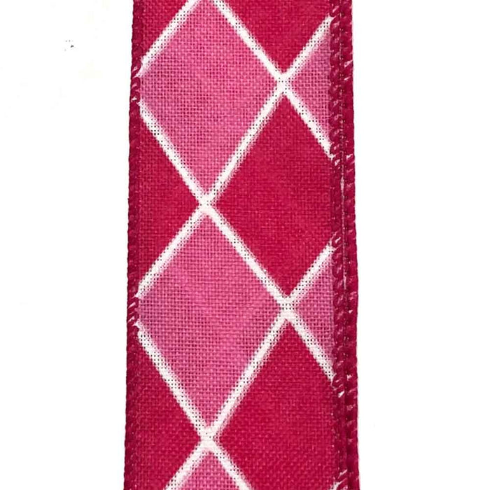 "2.5"" Fuchsia Pink White Harlequin Ribbon 50 yd Roll"