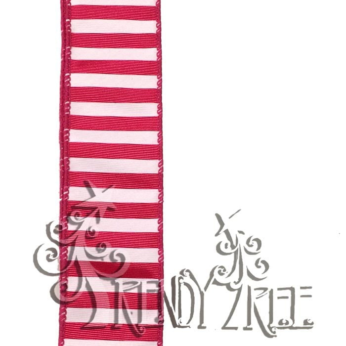 "1.5"" Fuchsia Heavy Satin White Stripes"