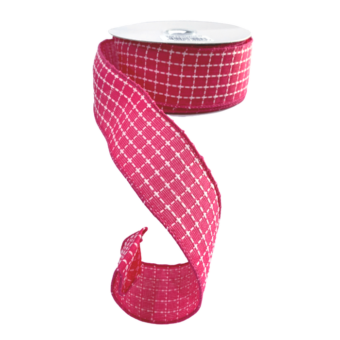"1.5"" Fuchsia White Dash Check Plaid Ribbon Q716809-24"