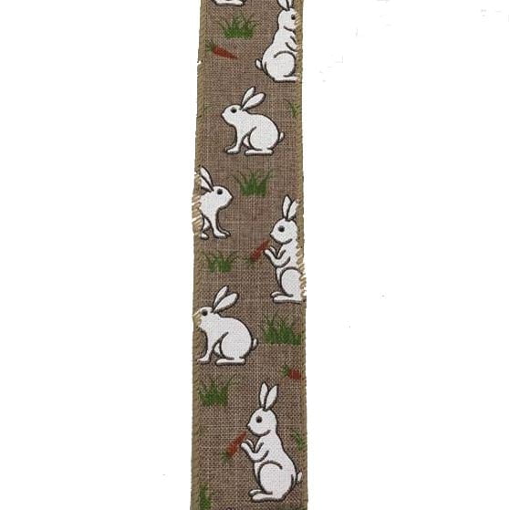 "1.5"" Natural Linen White Bunnies Carrots Ribbon"