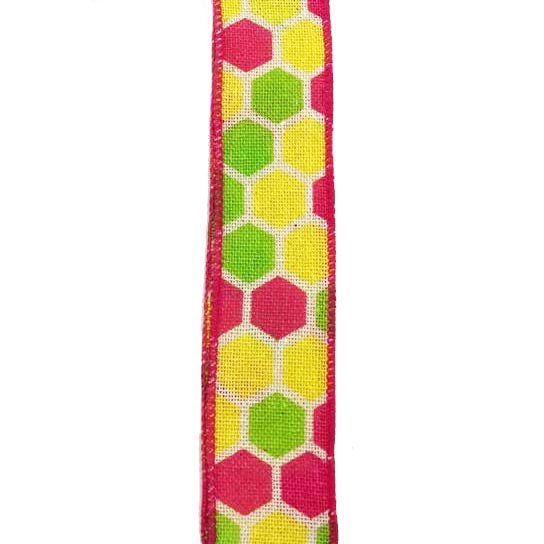 "1.5"" Ivory Canvas Fuchsia Yellow Kiwi Hex Ribbon Q814809-29"