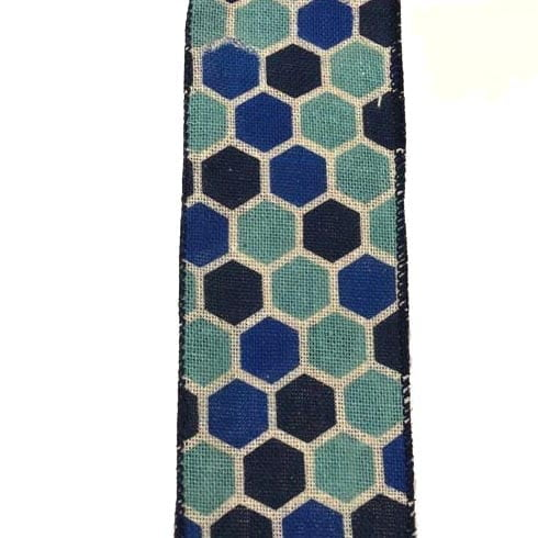 "2.5"" Ivory Canvas Blue Gradient Hex Ribbon"