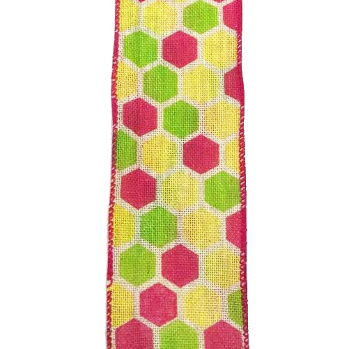 "2.5"" Ivory Canvas Fuchsia Yellow Kiwi Hex Ribbon"