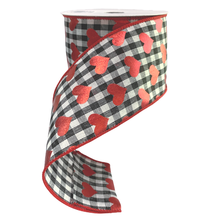 "2.5"" Black White Gingham Red Hearts Print Ribbon"