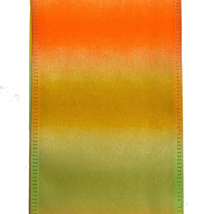 "2.5"" Orange Yellow Green Ombre Satin Ribbon"