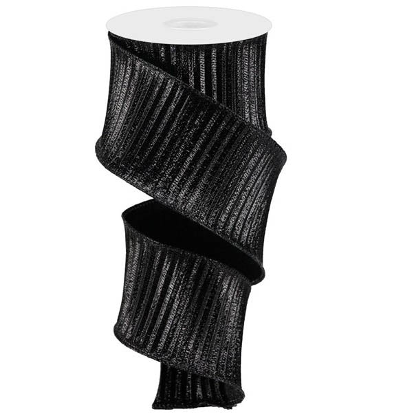 "2.5"" Black Pleated Woven Metallic Ribbon RB100302"
