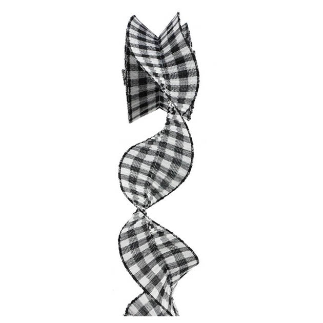 "3"" Black White Pleated Plaid Check Ribbon RB100443"