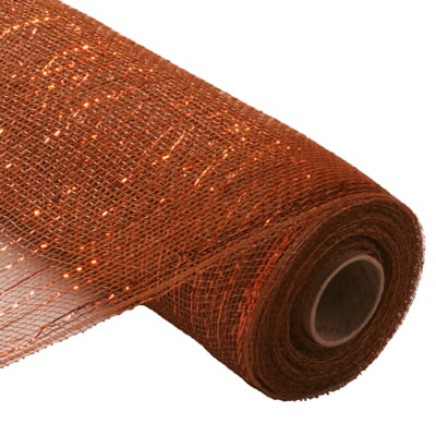 "21"" Brown Copper Metallic Deco Poly Mesh"