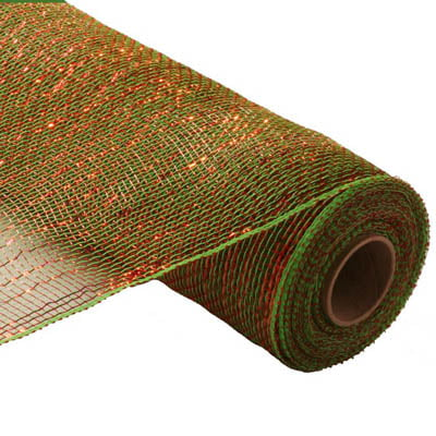 "21"" Lime Green Red Metallic Deco Poly Mesh"