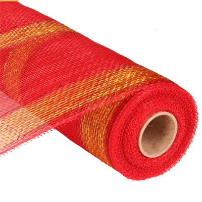 "21"" Red Gold Foil Bold Stripe Deco Poly Mesh"