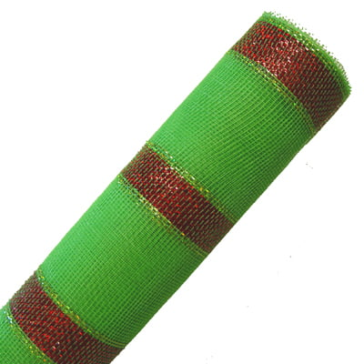 "21"" Lime Green Red Laser Foil Bold Stripe Deco Poly Mesh"