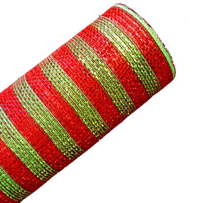 "21"" Red Lime Metallic Stripe Deco Poly Mesh"