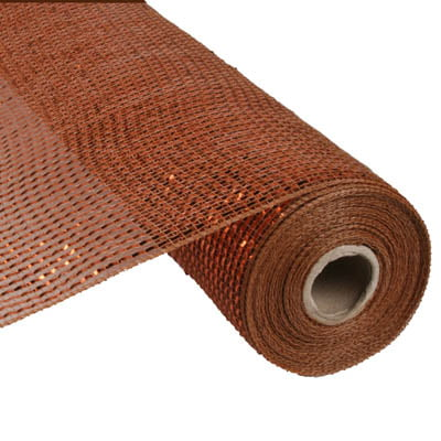 "21"" Brown Copper Deluxe Wide Foil Metallic Deco Poly Mesh"
