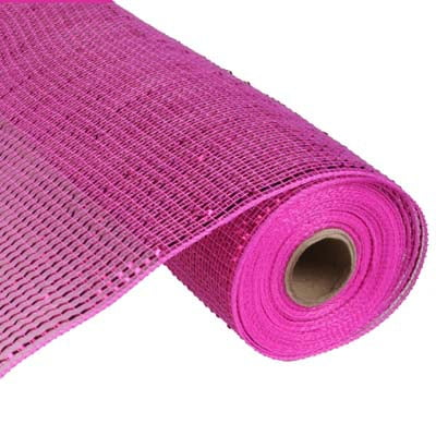 "21"" Hot Pink Deluxe Wide Foil Metallic Deco Poly Mesh"