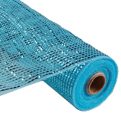 "21"" Turquoise Deluxe Wide Foil Metallic Deco Poly Mesh"