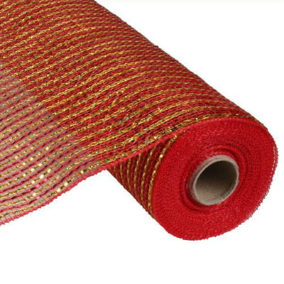 "21"" Red Gold Deluxe Wide Laser Foil Deco Poly Mesh"