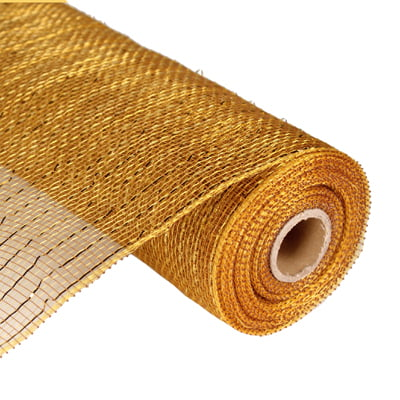 "10"" Gold Brown Metallic Deco Poly Mesh RE130108"