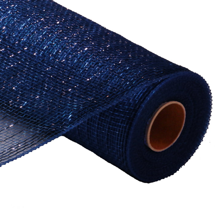 "10"" Navy Royal Blue Foil Metallic Deco Poly Mesh RE130157"