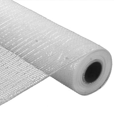 "10"" White Foil Metallic Deco Poly Mesh RE1301R1"