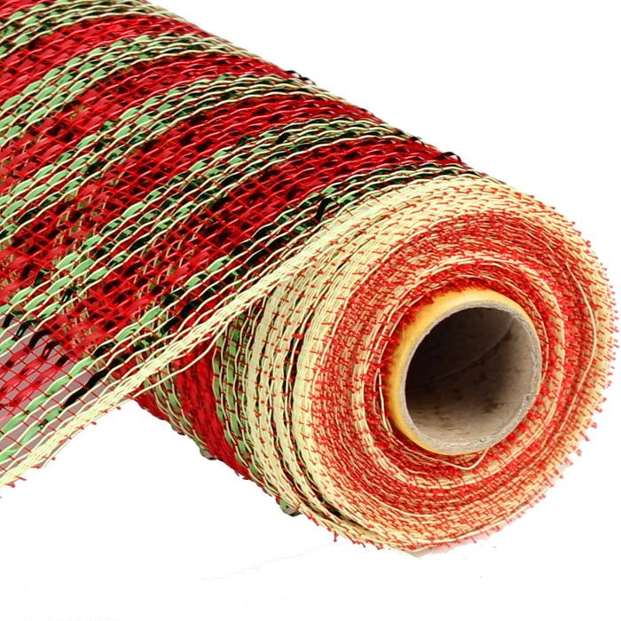 "10"" Deluxe Wide Foil Stripe Red Lime Green Deco Poly Mesh"