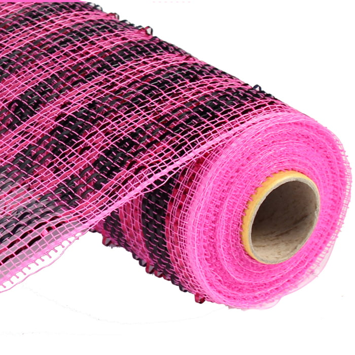 "10"" Deluxe Wide Foil Stripe Black Hot Pink Deco Poly Mesh"