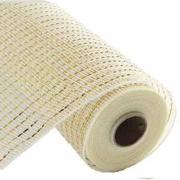 "10"" Cream Gold Wide Foil Deco Poly Mesh RE136672"
