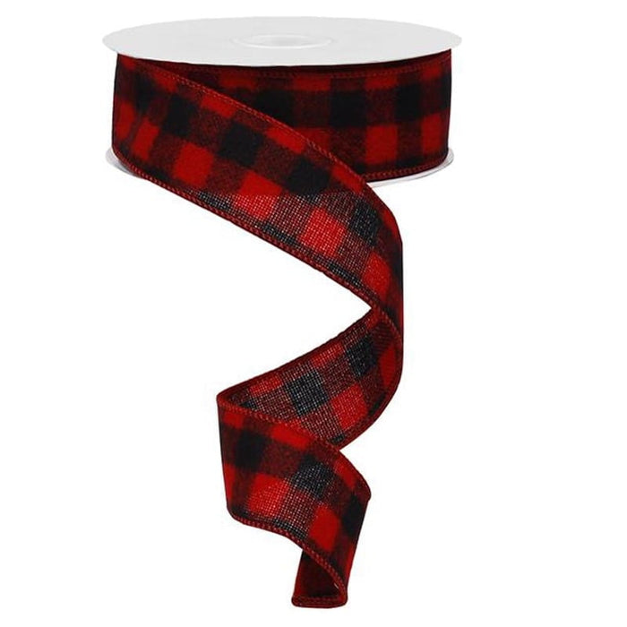 "1.5"" Red Black Flannel Check Ribbon"
