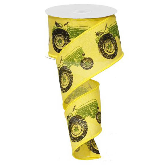 "2.5"" Yellow with Green Tractor Ribbon RG014877M"