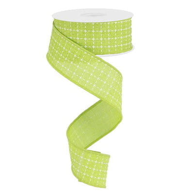 "1.5"" Lime Green Raised Stitched Squares Ribbon"