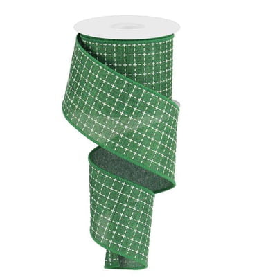 "2.5"" Emerald Green White Raised Stitched Squares Ribbon"