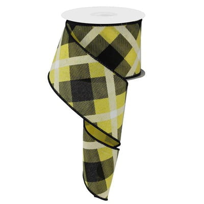 "2.5"" Yellow Black White Plaid Ribbon RG01683AN"