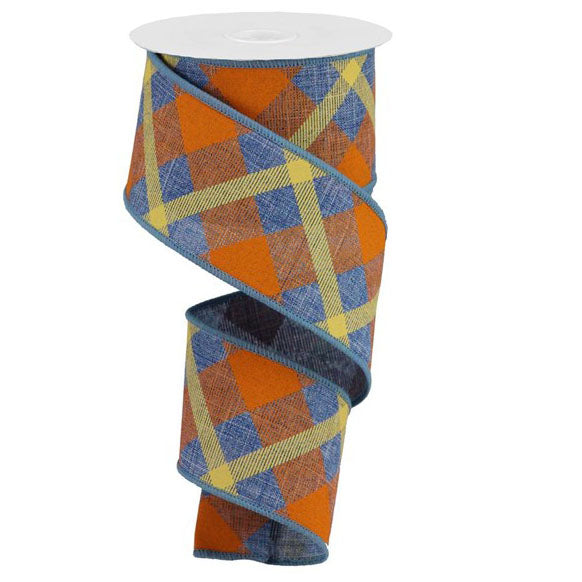 "2.5"" Denim Blue Orange Mustard Printed Plaid Ribbon RG01683RT"
