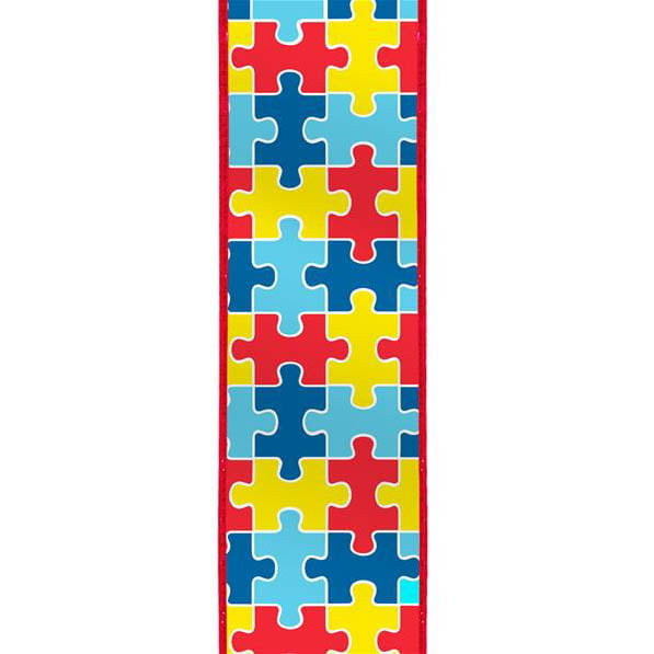 "2.5"" Red Yellow Blue Puzzle Print Ribbon"