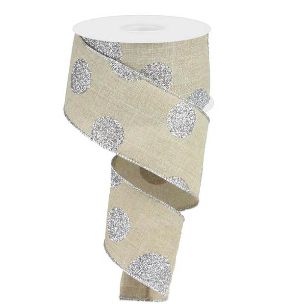 "2.5"" Natural Silver Glitter Multi Polka Dot Ribbon RG0182918"