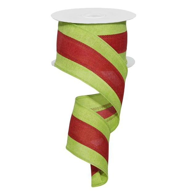 "2.5"" Lime Green Red Stripe Ribbon"