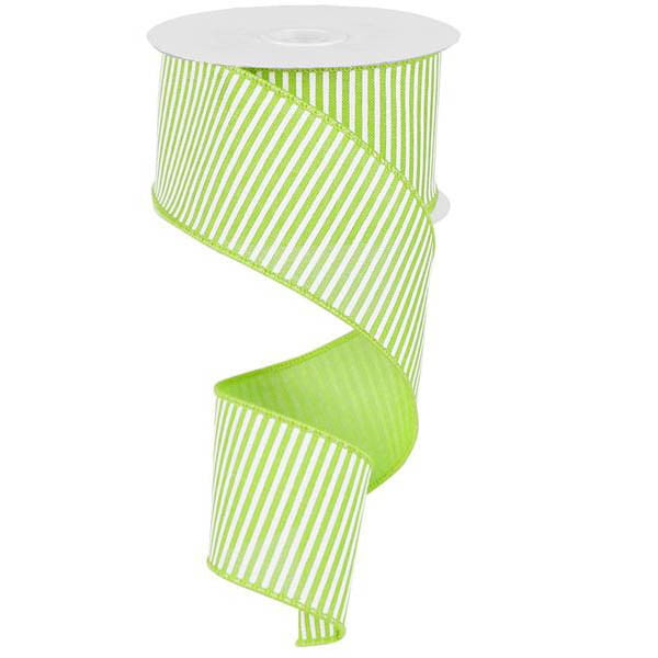 "2.5"" Lime Green White Horizontal Stripe Ribbon"