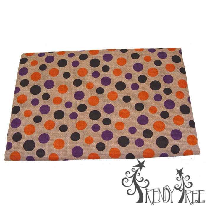 Halloween Table Cloth Black Purple Orange Polka Dot on Natural