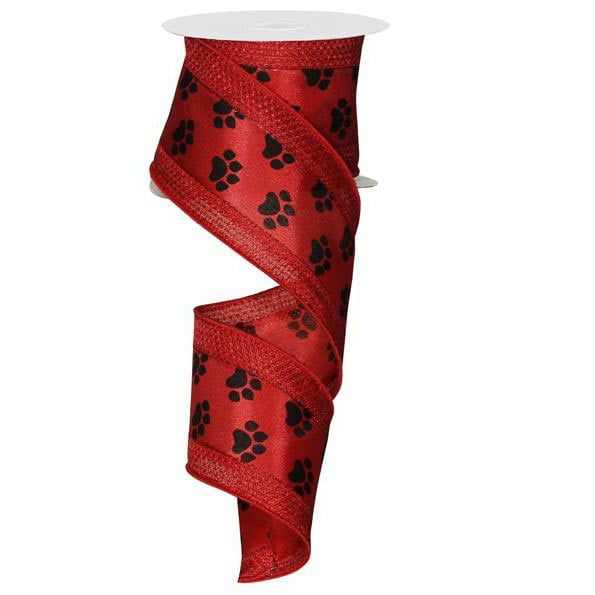 "2.5"" Paw Print Ribbon Red Edge RG8464CM"