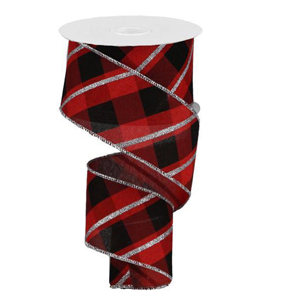 "2.5"" Red Black Silver Glitter Criss Cross Plaid Ribbon RGA132624"