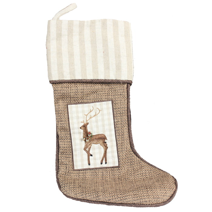 Burlap Embroidered Reindeer Christmas Stocking