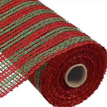 "10"" Poly Burlap Red Lime Double Stripe"