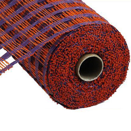 "10"" Orange Purple Poly Burlap Check Mesh"