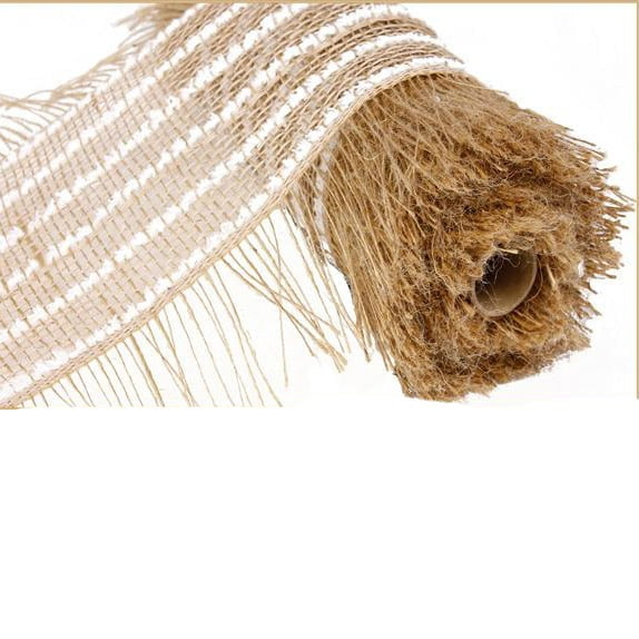 "10"" Burlap Jute Snowdrift Frayed Edge Mesh Natural & White"