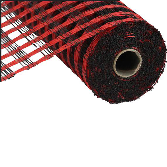 "21"" Red Black Poly Burlap Check Mesh"