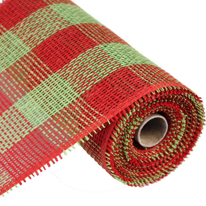 "10"" Red Lime Green Check Paper Mesh"