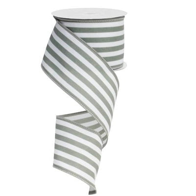"2.5"" Grey White Vertical Striped Ribbon RX9136R7"