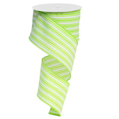 "2.5"" Lime Green White Vertical Dash Stripe Ribbon RX9138F5"