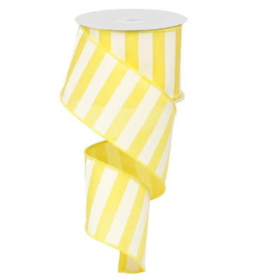 "2.5"" Yellow White Stripe Ribbon RX9149X7"