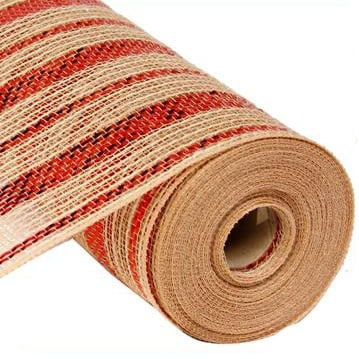 "10"" Poly Jute Mesh Natural Red Metallic Stripes"
