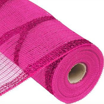 "10.5"" Tinsel Foil Deco Poly Mesh Hot Pink"